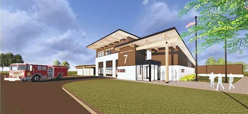 "Aurora firefighters on Monday moved into the city's new station No. 7, seen here in a rendering. ""We hope to get 75-plus years out of the new station, so it will serve this neighborhood for a long time,"" said Donald Davids, assistant chief of support services."
