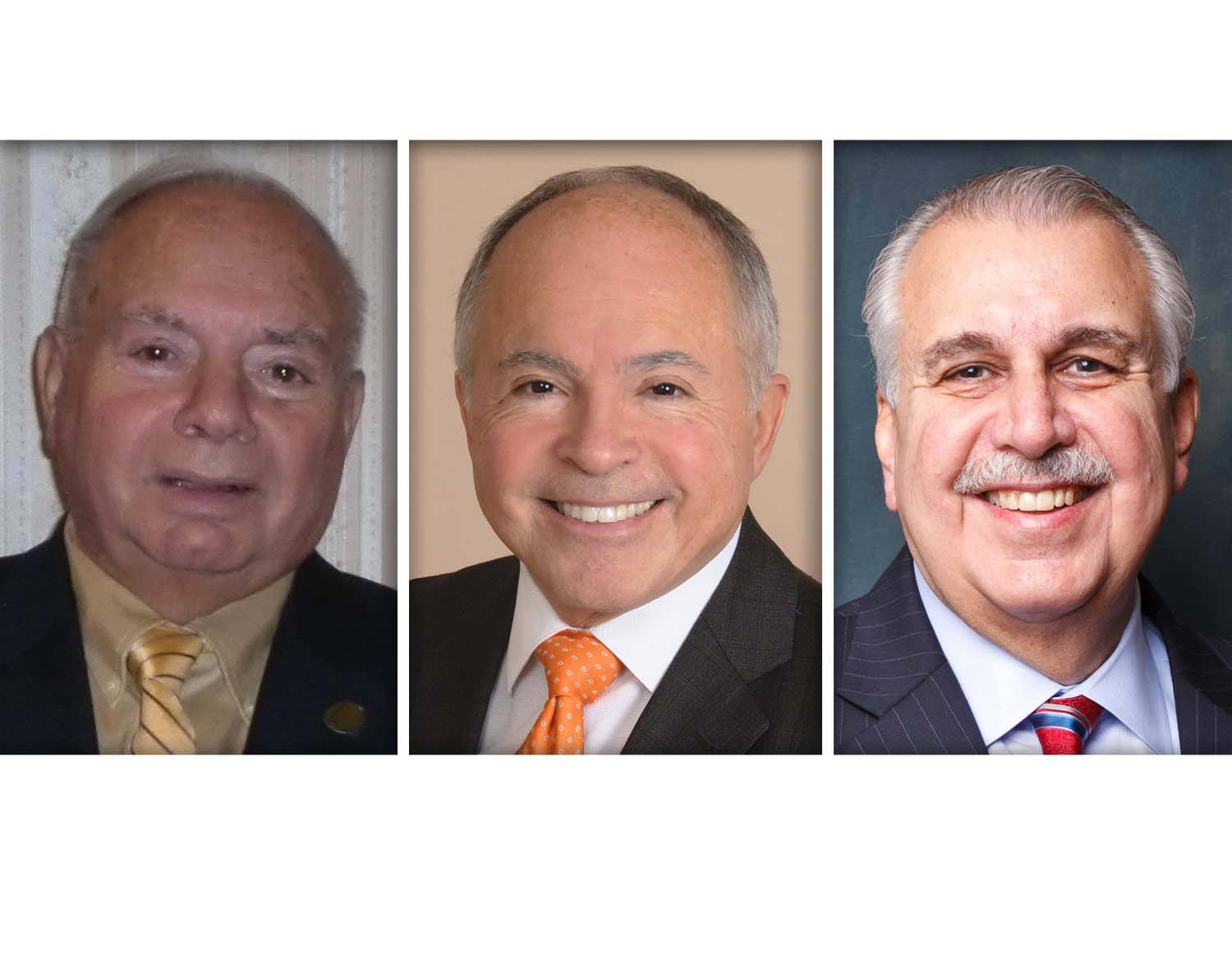 DuPage County Board member Sam Tornatore, right, is the only incumbent in the Republican primary race for two District 1 seats. The two other candidates seeking the GOP nomination are Paul DeMichele, left, and Dino Gavanes.