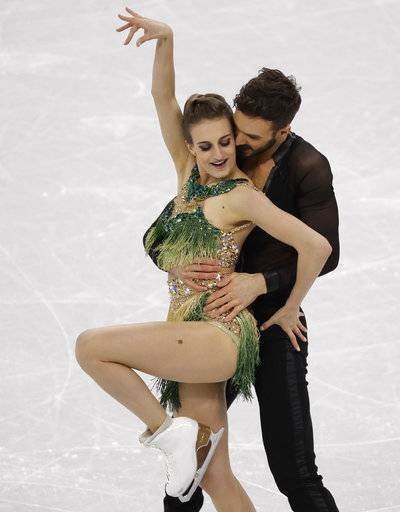 Gabriella Papadakis and Guillaume Cizeron of France perform during the ice dance, short dance figure skating in the Gangneung Ice Arena at the 2018 Winter Olympics in Gangneung, South Korea, Monday, Feb. 19, 2018.