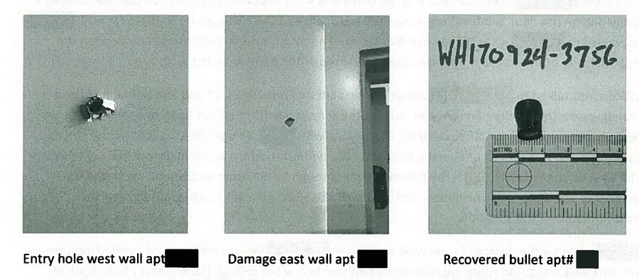 These photos from a Wheaton Police Department report show the damage to an apartment wall that authorities say resulted when DuPage County Judge Patrick O'Shea discharged a handgun.
