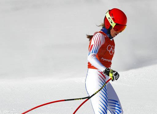United States' Mikaela Shiffrin finishes women's downhill training at the 2018 Winter Olympics in Jeongseon, South Korea, Monday, Feb. 19, 2018. (AP Photo/Christophe Ena)