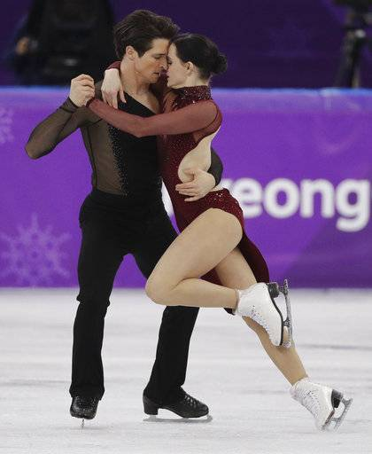 Tessa Virtue and Scott Moir of Canada perform during the ice dance, free dance figure skating final in the Gangneung Ice Arena at the 2018 Winter Olympics in Gangneung, South Korea, Tuesday, Feb. 20, 2018.
