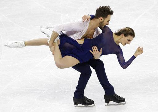 Gabriella Papadakis and Guillaume Cizeron of France perform during the ice dance, free dance figure skating final in the Gangneung Ice Arena at the 2018 Winter Olympics in Gangneung, South Korea, Tuesday, Feb. 20, 2018.