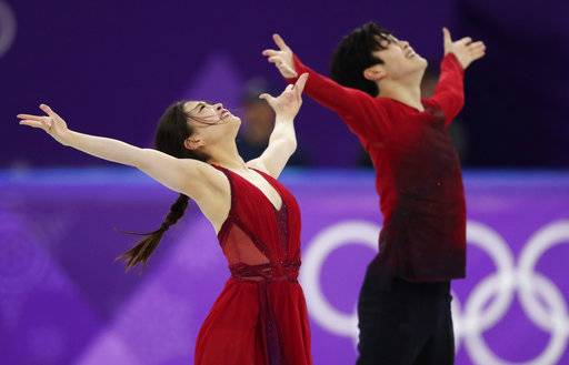 Maia Shibutani and Alex Shibutani of the United States perform during the ice dance, free dance figure skating final in the Gangneung Ice Arena at the 2018 Winter Olympics in Gangneung, South Korea, Tuesday, Feb. 20, 2018.