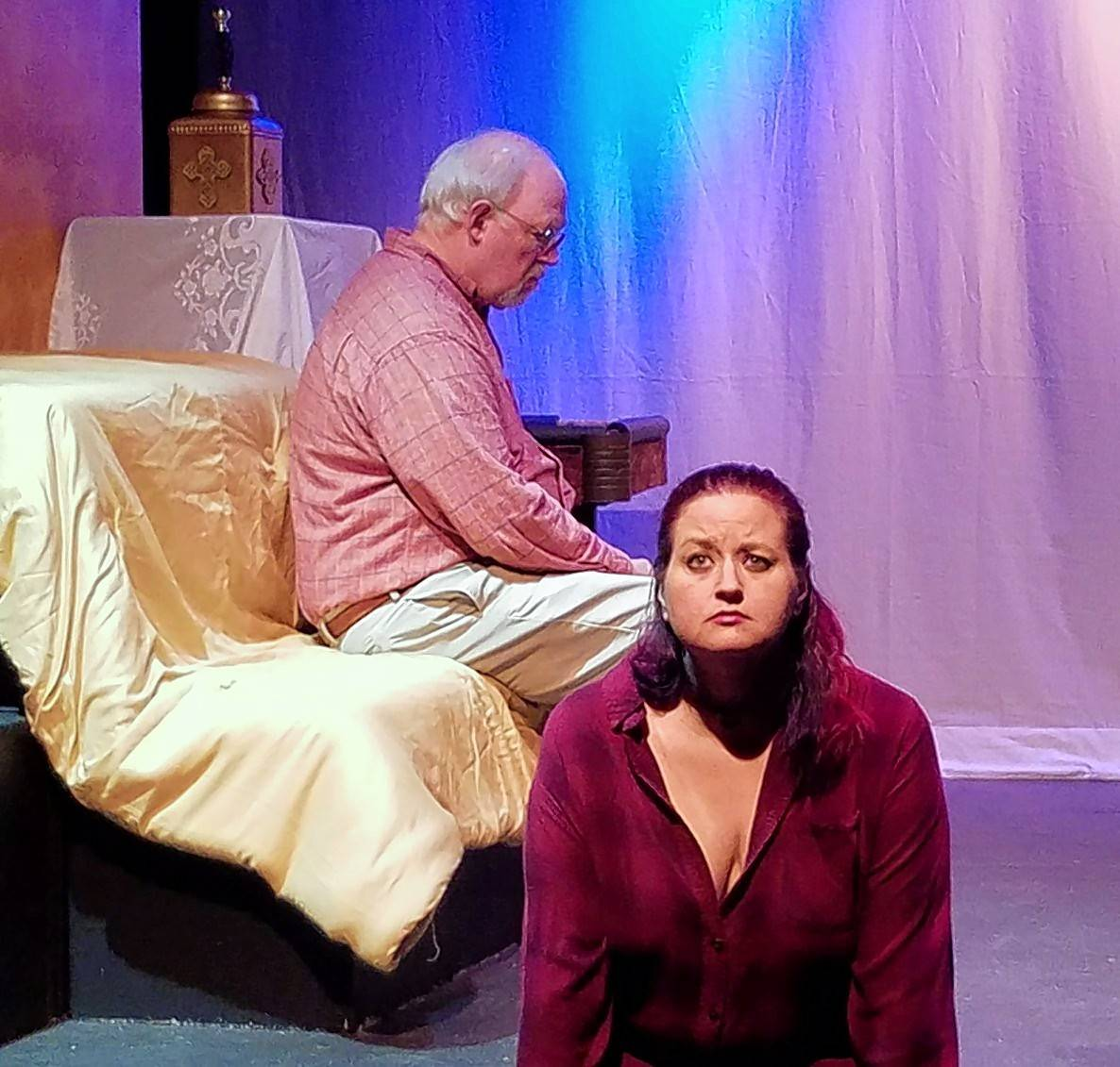 "Larry Boller and Jessica McCartney appear in Steel Beam Theatre's production of Lisa Eisenstein's comedy ""Three the Hard Way."""