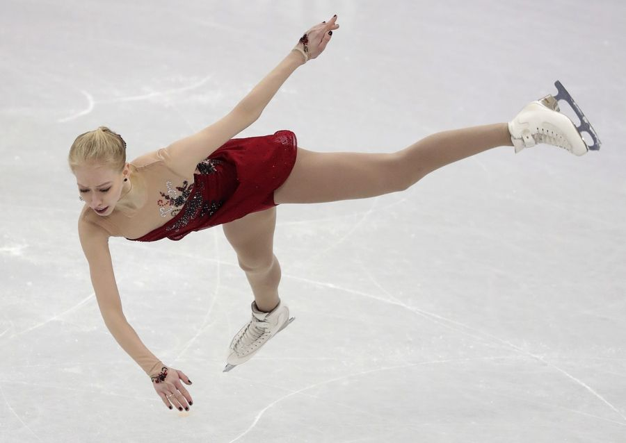 Bradie Tennell of the United States performs during the women's short program figure skating in the Gangneung Ice Arena at the 2018 Winter Olympics in Gangneung, South Korea, Wednesday, Feb. 21, 2018.