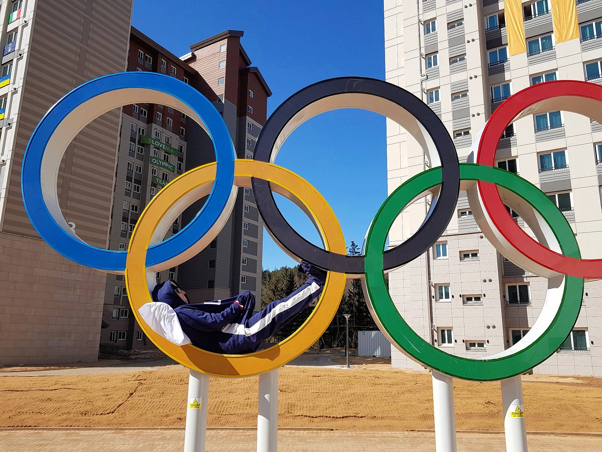 Ski jumper Kevin Bickner, a Wauconda native, takes a nap in the Olympic rings in Pyeongchang. He tweeted out this photo last week poking fun at his crazy sleep schedule.