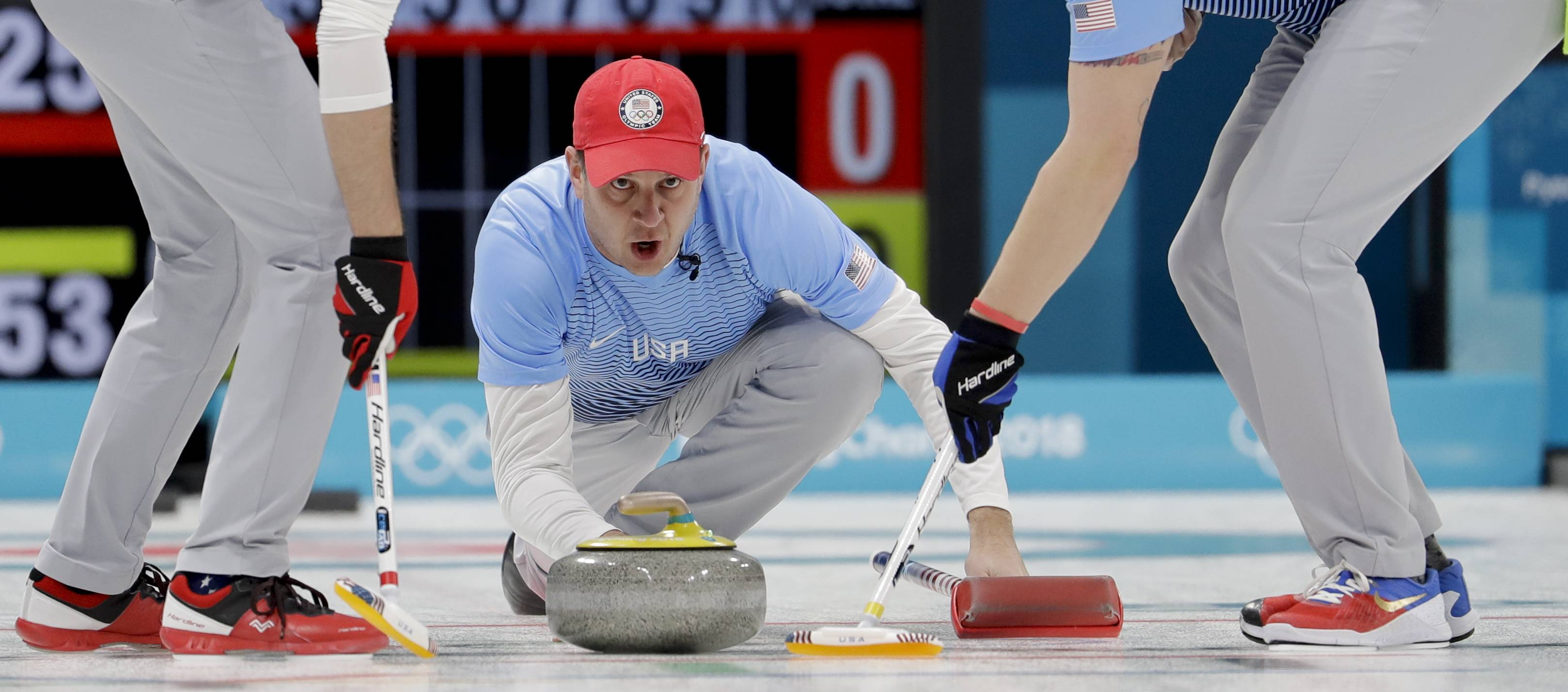 United States's skip John Shuster throws a stone during a men's curling match against Switzerland at the 2018 Winter Olympics in Gangneung, South Korea, Tuesday, Feb. 20, 2018.