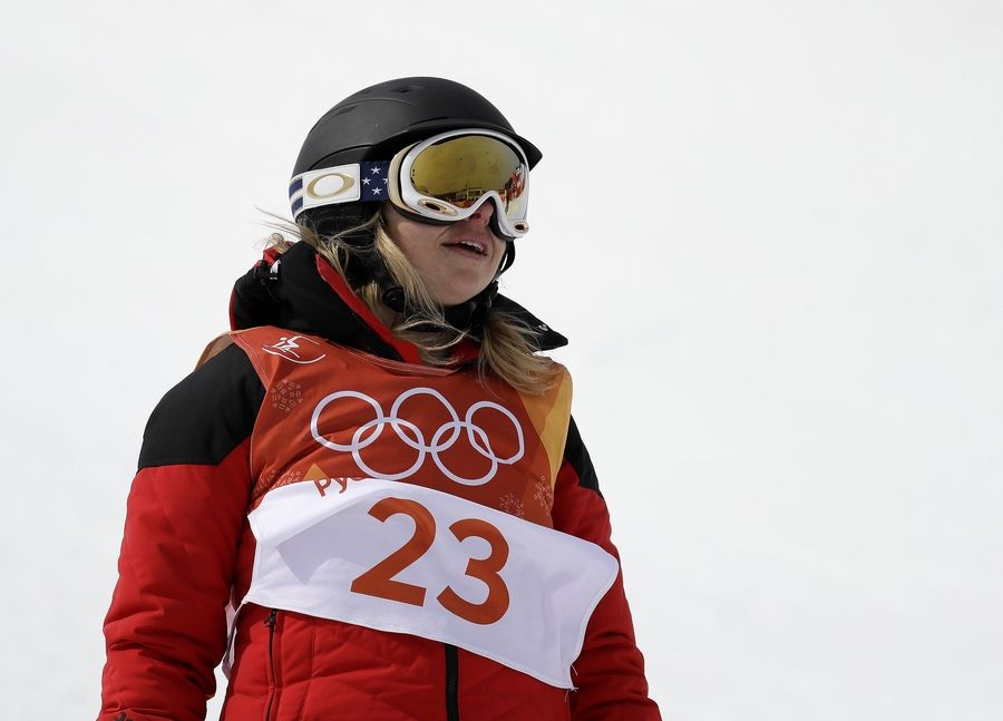 Elizabeth Marian Swaney finishes her run Monday during the women's halfpipe qualifying at Phoenix Snow Park at the 2018 Winter Olympics in Pyeongchang, South Korea.