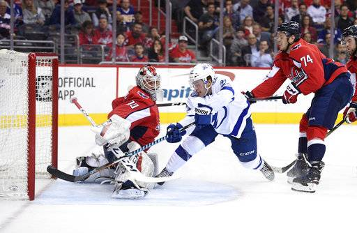 Tampa Bay Lightning center Brayden Point (21) scores a goal past Washington Capitals goaltender Braden Holtby (70) and defenseman John Carlson (74) during the first period of an NHL hockey game, Tuesday, Feb. 20, 2018, in Washington. (AP Photo/Nick Wass)