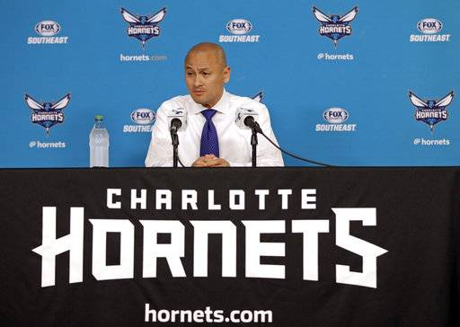 "FILE - In this April 13, 2017, file photo, Charlotte Hornets general manager Rich Cho speaks to the media during a news conference in Charlotte, N.C. The struggling Hornets have fired general manager Rich Cho. Team owner Michael Jordan announced the news in a release Tuesday, Feb. 20, 2018, saying ""we're deeply committed to our fans and to the city of Charlotte to provide a consistent winner on the court. The search will now begin for our next head of basketball operations who will help us achieve that goal.�(AP Photo/Chuck Burton, File)"