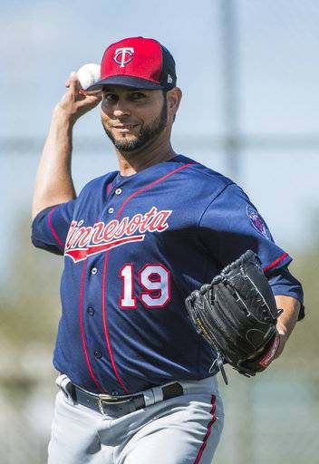 Minnesota Twins pitcher Anibal Sanchez (19) throws at baseball spring training in Fort Myers, Fla., Tuesday, Feb. 20, 2018. (Mark Vancleave/Star Tribune via AP)