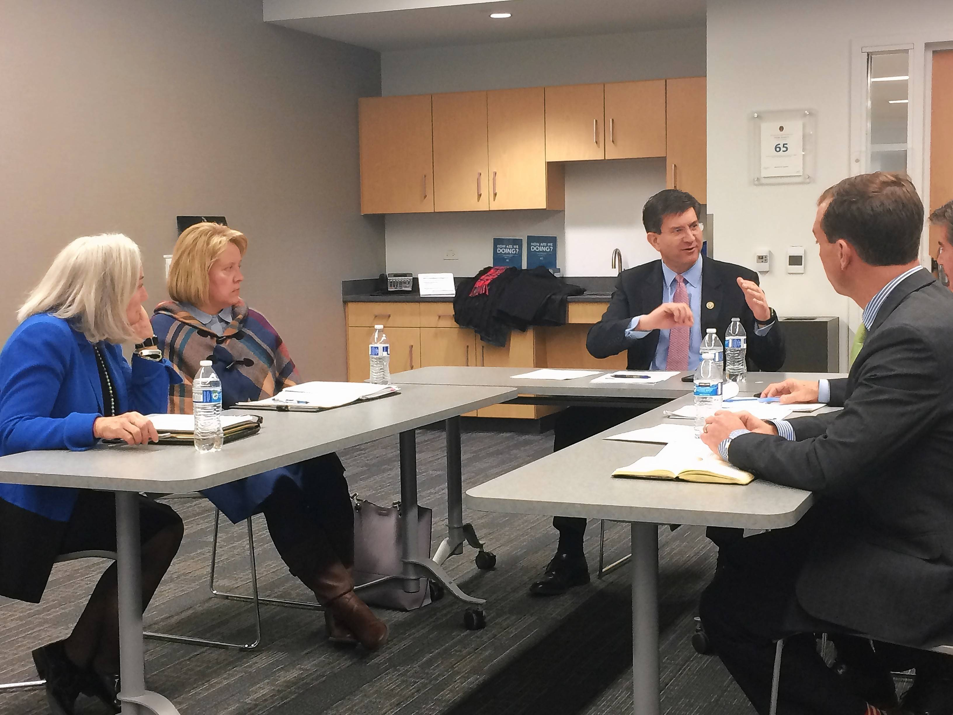 U.S. Rep. Brad Schneider, center, talks about election security during a meeting in Northbrook. Also attending were Lake County Clerk Carla Wyckoff, left, Lake County Deputy Clerk Debra Nieto, Cook County Clerk David Orr, and Cook County Elections Director Noah Praetz.