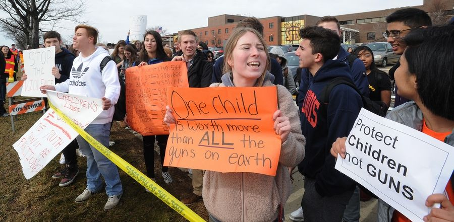 Senior Kiley Tamason, 17, and other Schaumburg High School students walked out of school Wednesday as part of a nationwide push by teens for stricter gun control measures.