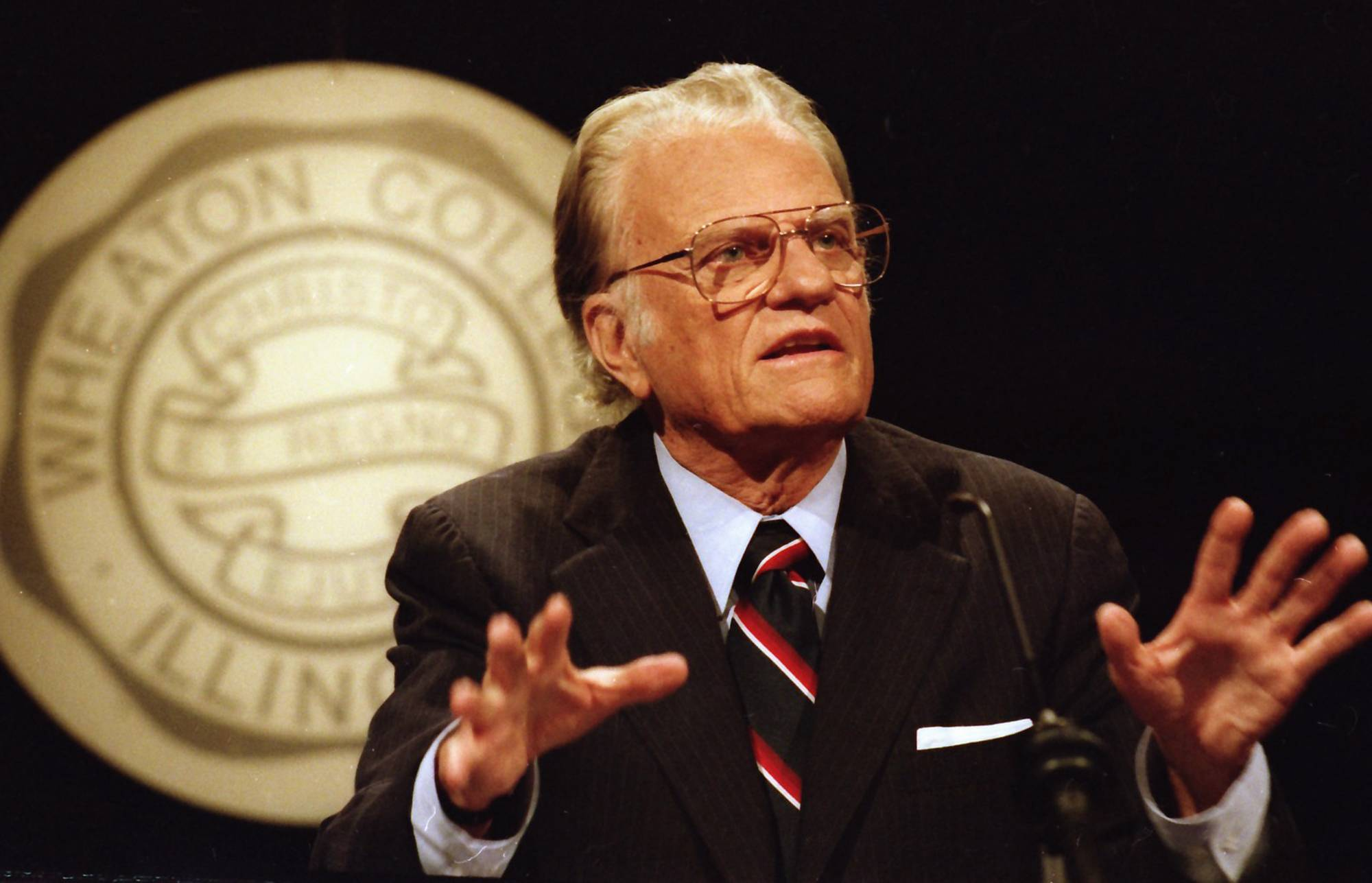 Rev. Billy Graham speaking at Wheaton College on May 11, 1994.
