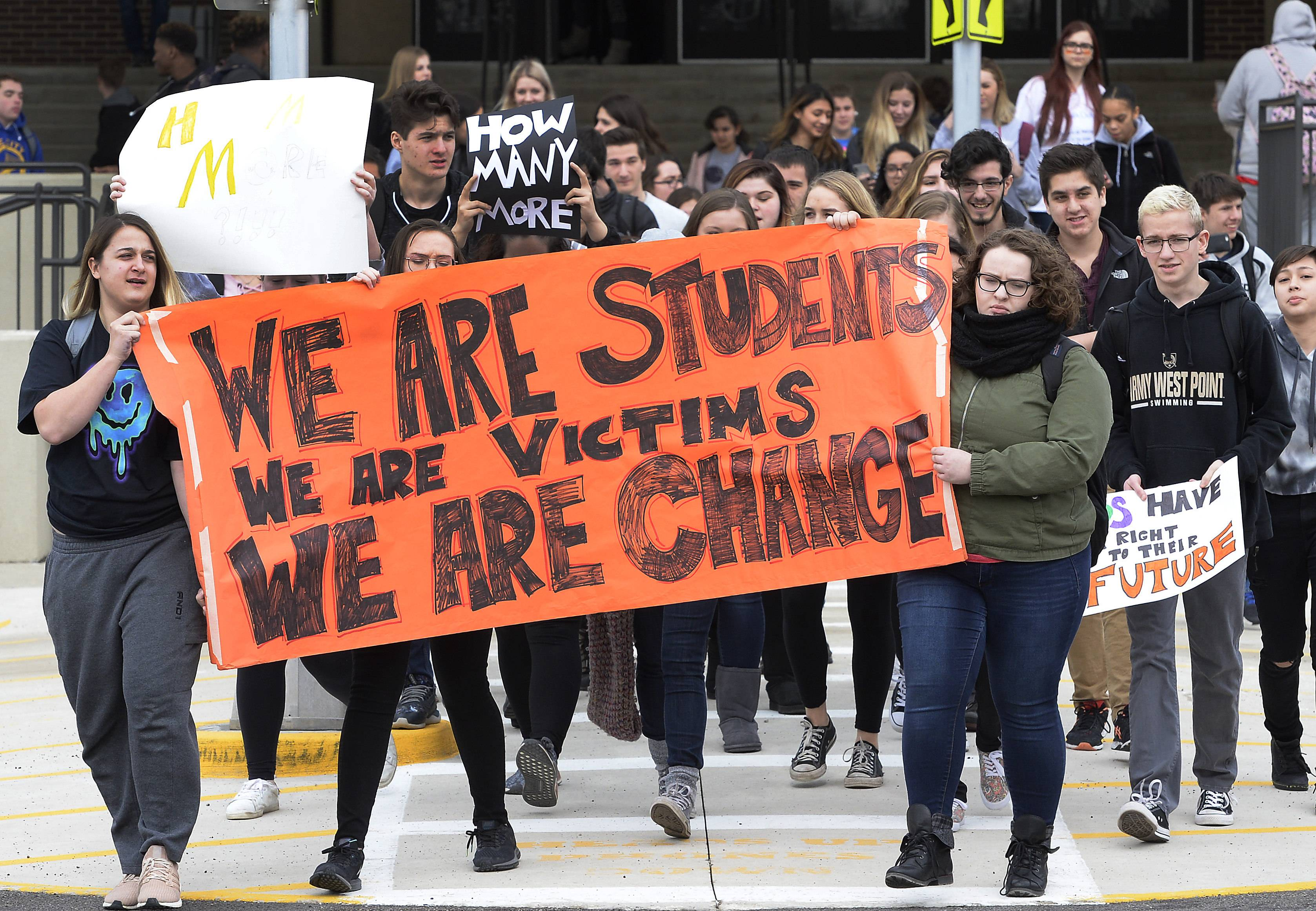 An estimated 1,200 Schaumburg High School students walked out of classes Wednesday as part of a nationwide protest for stricter gun control measures in the wake of the killing of 17 students and staff last week at a Florida high school.
