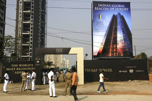 "Policemen stand guard in front of the construction site of Trump Tower in Kolkata, India, Wednesday, Feb. 21, 2018. While on a visit to India promoting the real estate, Donald Trump Jr. said any talk that his family was profiting from his father's presidency was ""nonsense."""