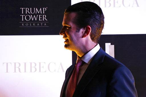 "US President Donald Trump's eldest son, Donald Trump Jr. leaves after a photo call in Kolkata, India, Wednesday, Feb. 21, 2018. Donald Trump Jr. said any talk that his family was profiting from his father's presidency was ""nonsense"" as he began a visit to India to promote real estate deals that bear his family's name."