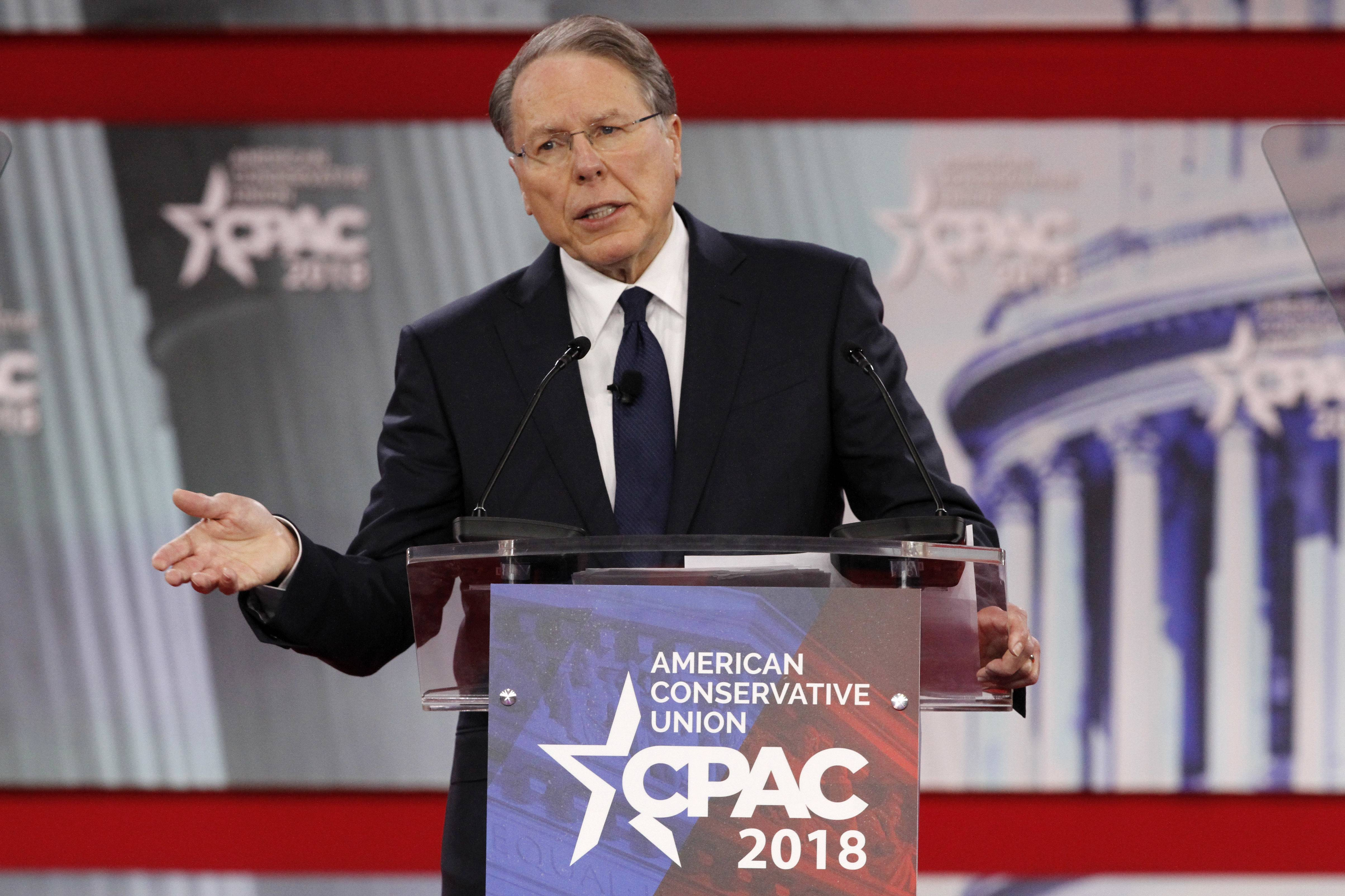National Rifle Association Executive Vice President and CEO Wayne LaPierre speaks Thursday at the Conservative Political Action Conference (CPAC) in National Harbor, Maryland.