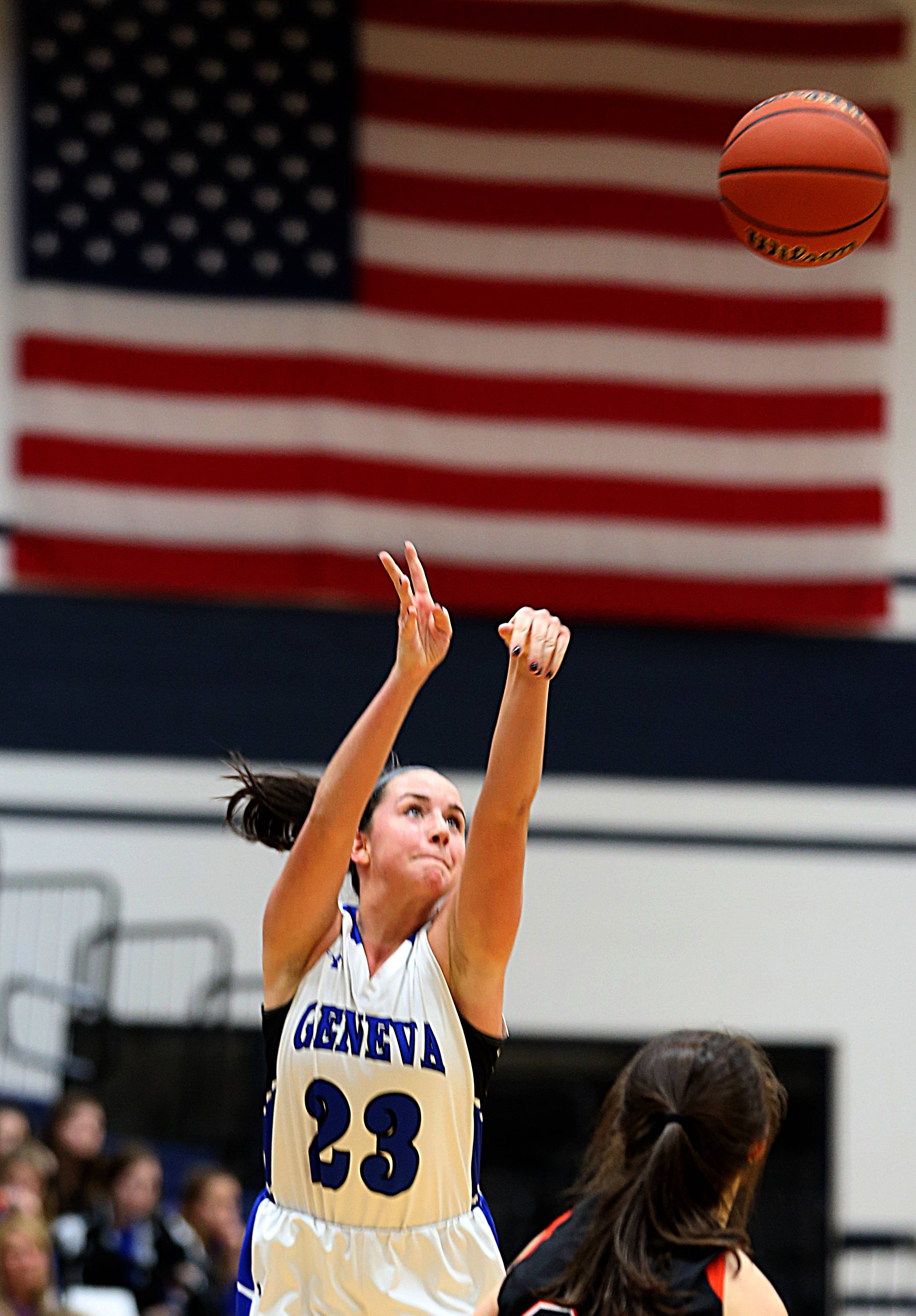 Geneva's Margaret Whitley sets up a three-point shot against Wheaton Warrenville South during the Class 4A sectional title game at Lake Park High School in Roselle Thursday night.