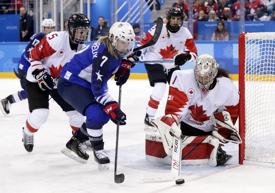 Goalie Shannon Szabados (1), of Canada, handles the puck against Monique Lamoureux-Morando (7), of the United States, during the second period of the women's gold medal hockey game at the 2018 Winter Olympics in Gangneung, South Korea, Thursday morning.
