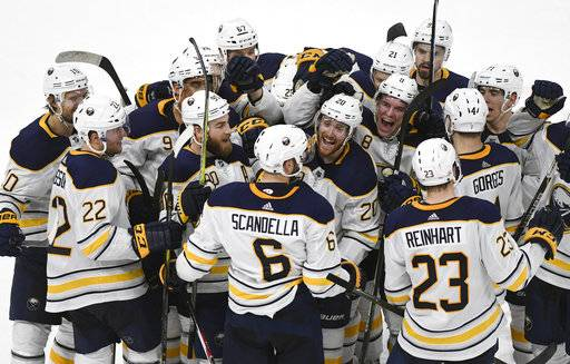 Buffalo Sabres defenseman Marco Scandella (6) is surrounded by teammates after scoring in overtime against the Detroit Red Wings in an NHL hockey game, Thursday, Feb. 22, 2018, in Detroit. The Sabres won 3-2. (AP Photo/Jose Juarez)