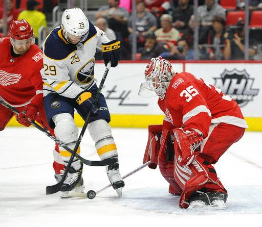 Buffalo Sabres right wing Jason Pominville (29) prepares to shoot on Detroit Red Wings goaltender Jimmy Howard (35) during the first period of an NHL hockey game Thursday, Feb. 22, 2018, in Detroit.