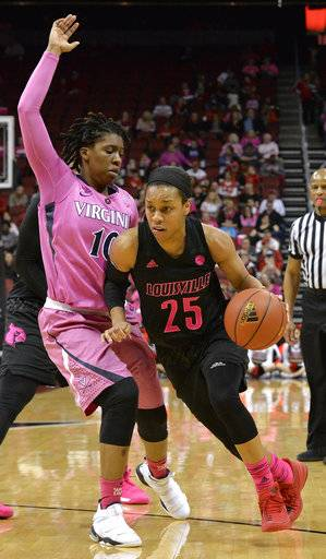 Louisville guard Asia Durr (25) drives past the defense of Virginia guard J'Kyra Brown (10) during the second half of an NCAA college basketball game, Thursday, Feb. 22, 2018, in Louisville, Ky. (AP Photo/Timothy D. Easley)