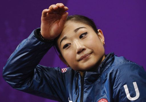 Mirai Nagasu of the United States reacts as her scores are posted following her performance in the women's short program figure skating in the Gangneung Ice Arena at the 2018 Winter Olympics in Gangneung, South Korea, Wednesday, Feb. 21, 2018.