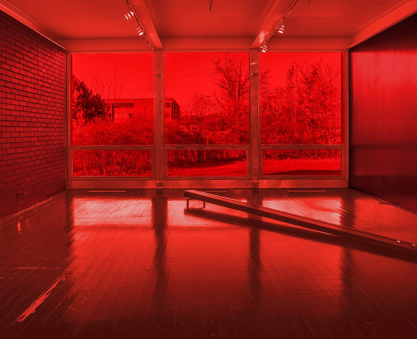 "Artist Iñigo Manglano-Ovalle is creating an architectural intervention to be called ""Seeing Red,"" shown in this rendering, in conjunction with the restoration of Mies van der Rohe's McCormick House in Elmhurst."