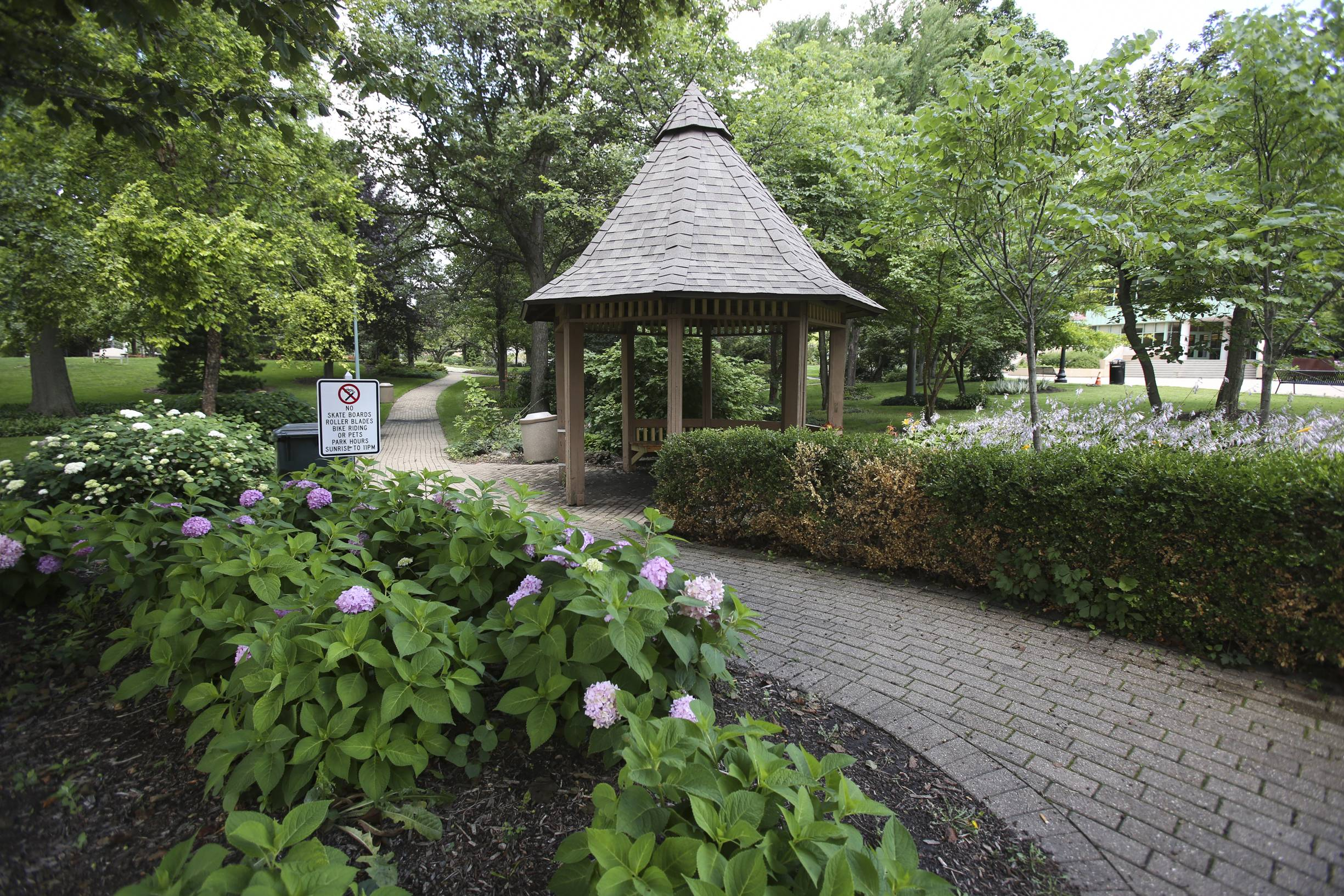 A gazebo is one of the few structures in Adams Park, a quiet getaway in downtown Wheaton.