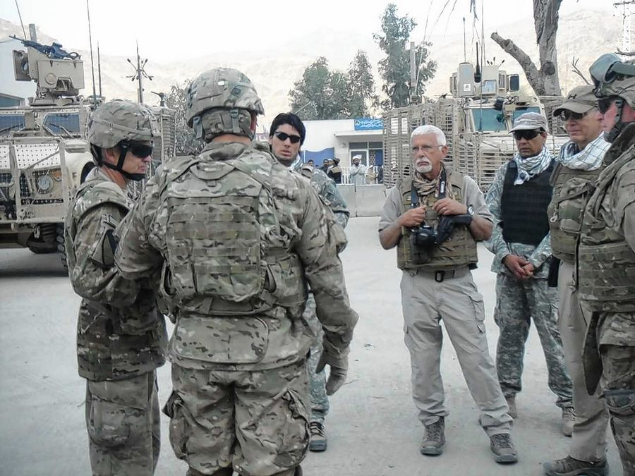 """M. Jan"" said he used to work as an interpreter and translator for the U.S. Army in Afghanistan. He is the third from right in this 2011 photo."