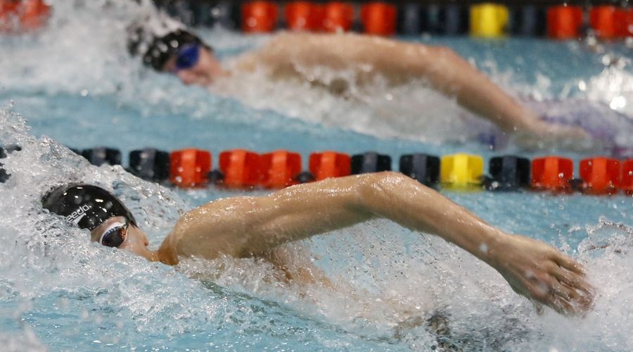 Sami Moussally of Grayslake Central swims the 100-yard freestyle Friday during the boys swimming state meet prelims at Evanston.