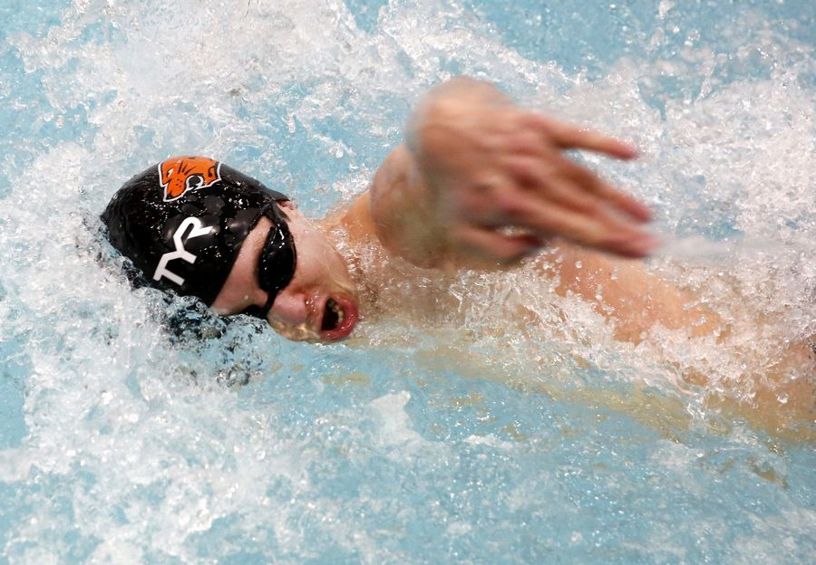 Sean Coughlin of Libertyville competes in the 100-yard freestyle Friday during the boys swimming state meet prelims at Evanston.