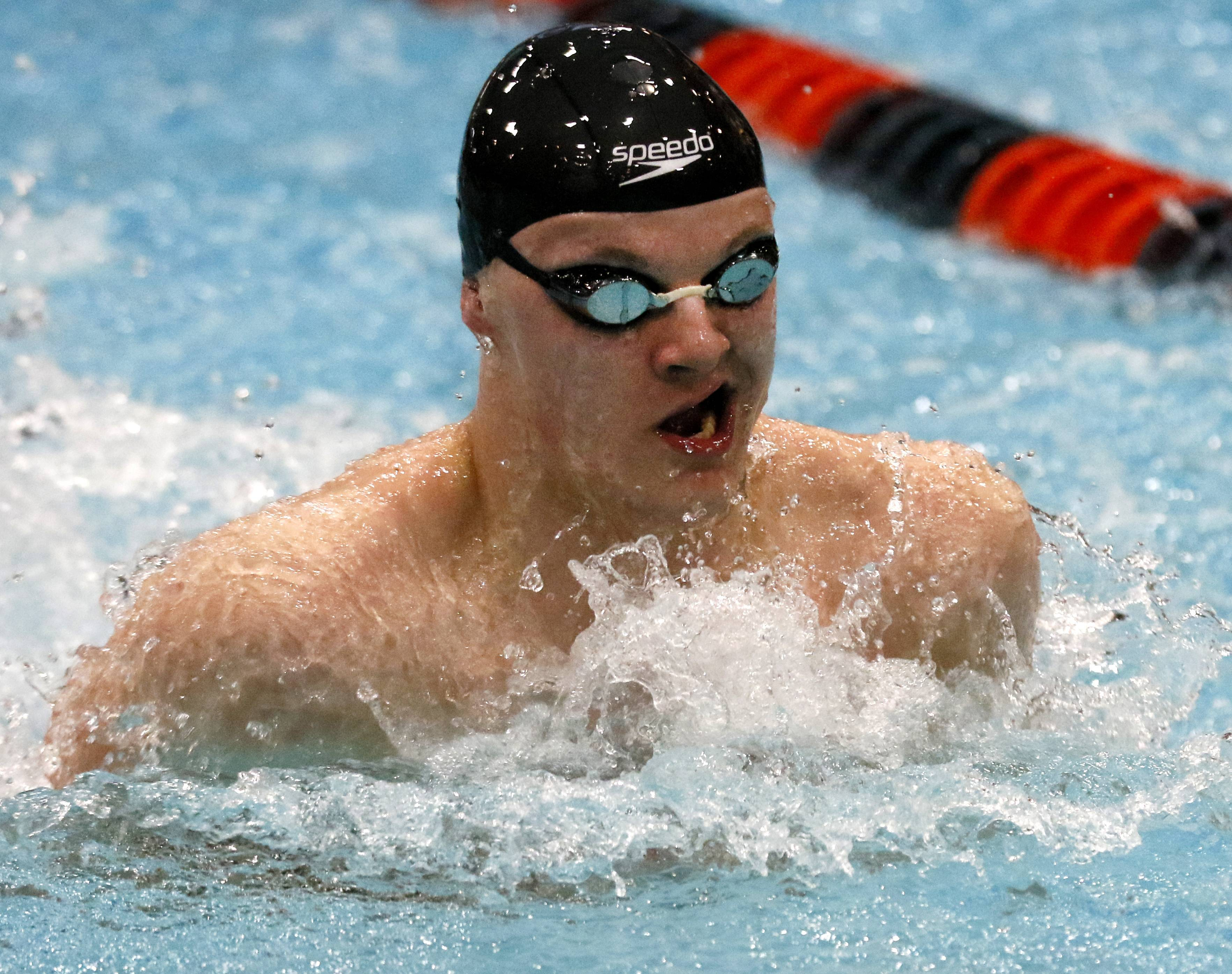 St. Charles North's William Myhre swims the 200-yard medley relay.