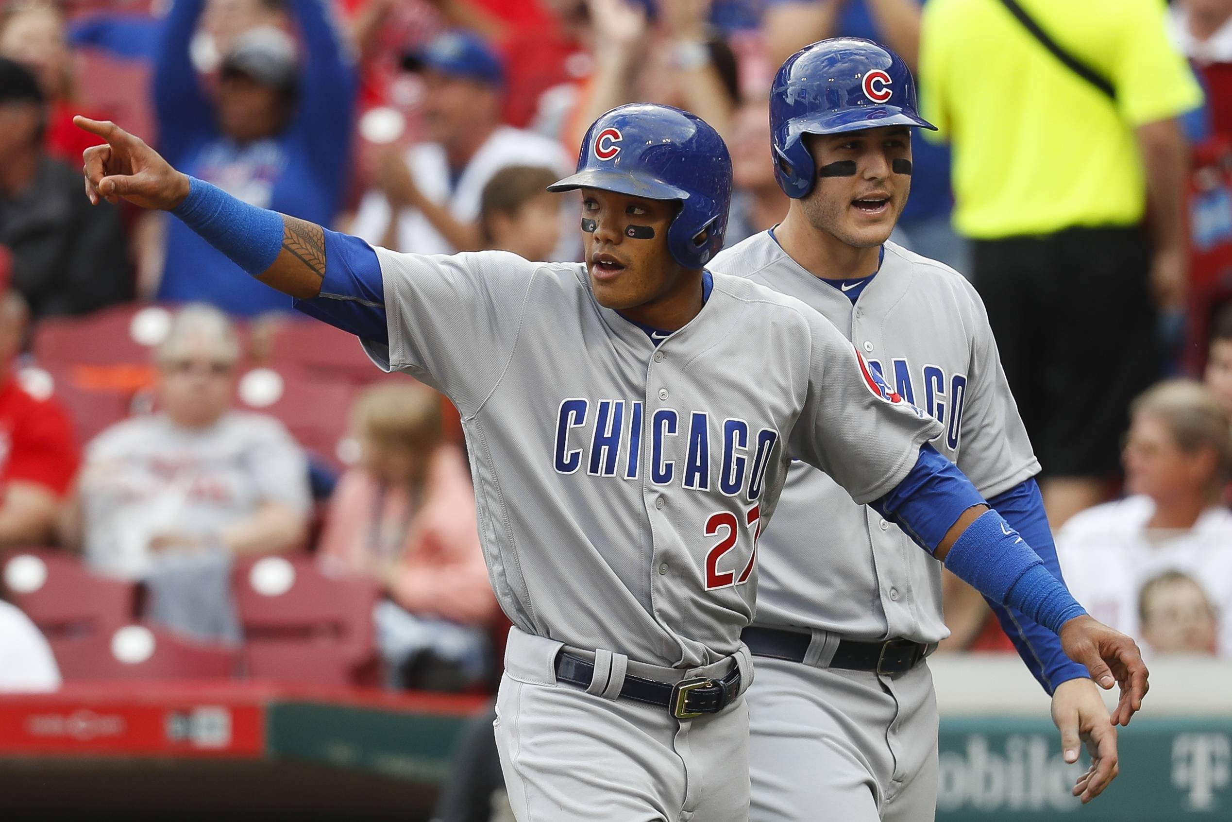 Associated Press File Photo Cubs shortstop Addison Russell, left, celebrates with Anthony Rizzo, after scoring during an October 2016 game. The young players on the Chicago Cubs have grown up. They're still young, but they are veterans now.