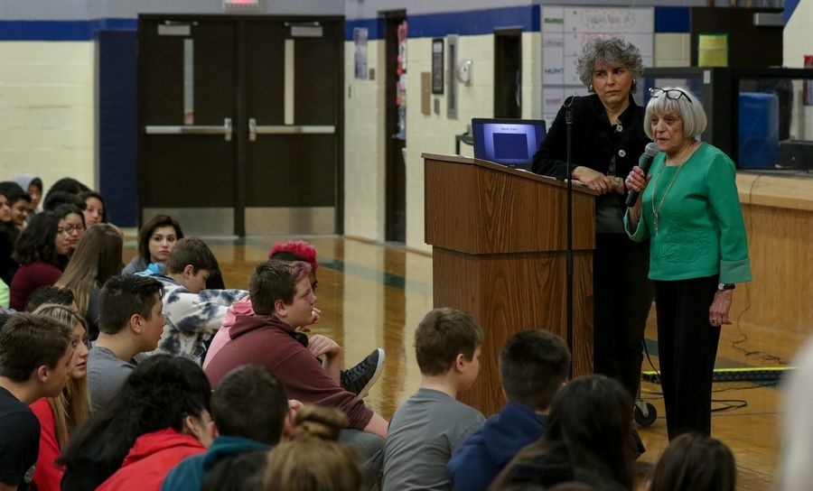 Fern Schumer Chapman and her mother Edith Westerfeld Schumer, 92, speak to students at Addams Junior High in Schaumburg on Friday about Schumer's escape from the Holocaust.