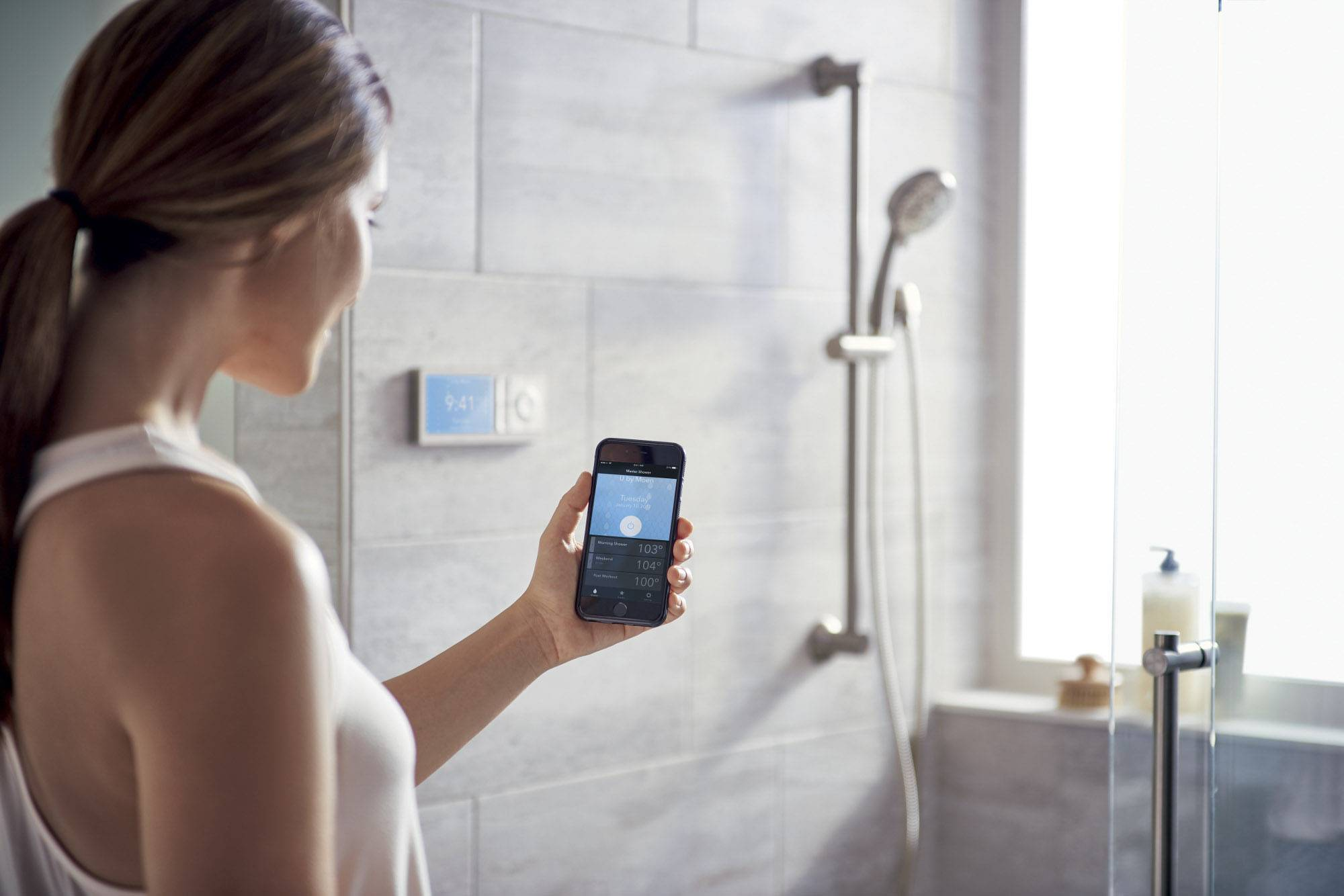 Moen's smart shower system can be operated with Amazon's Alexa.