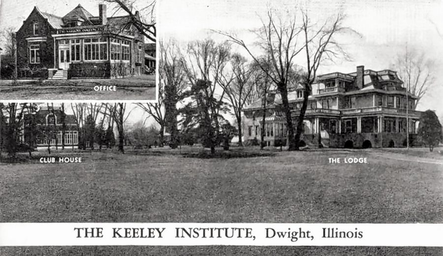 The Buildings of the Keeley Institute are, in some cases, still around in Dwight. For example, the clubhouse is now the Prairie Creek Public Library, and the lodge is now the Country Mansion restaurant.