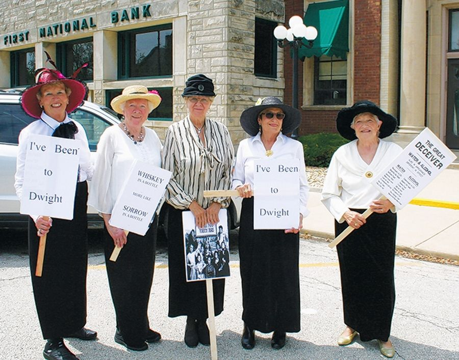 Women from Dwight, Illinois, portray temperance union members who cheered on graduates of the Keeley program. The women are, from left, Shirley Holzhauer, Delores Slattery, Betty Pfeifer, Elaine Mortensen and Dee Hanner.