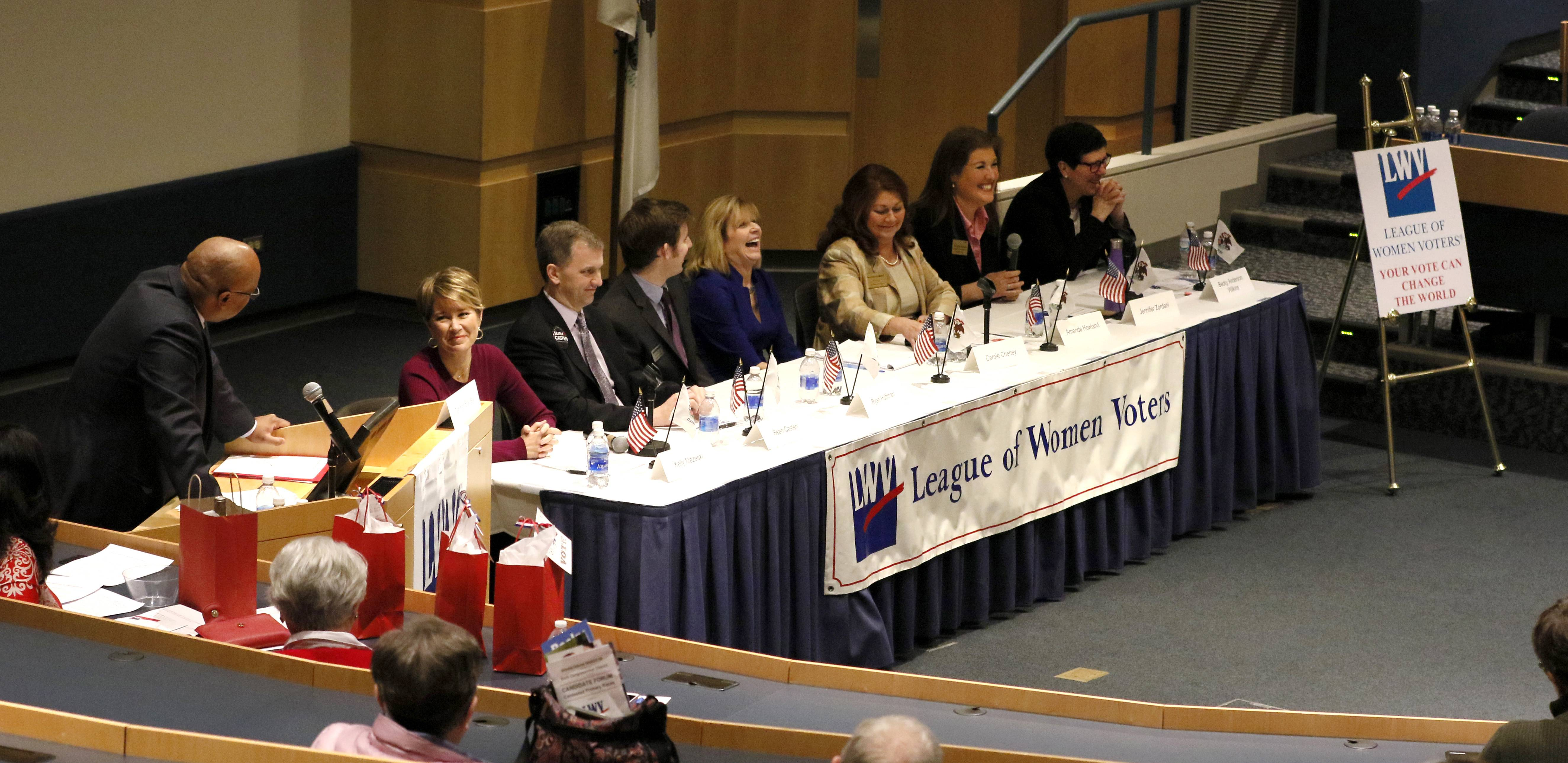 Democratic candidates vying for the party nod in the 6th Congressional District primary spent most of the time at Saturday's League of Women Voters forum at Harper College taking jabs at incumbent Republican Peter Roskam than at each other.
