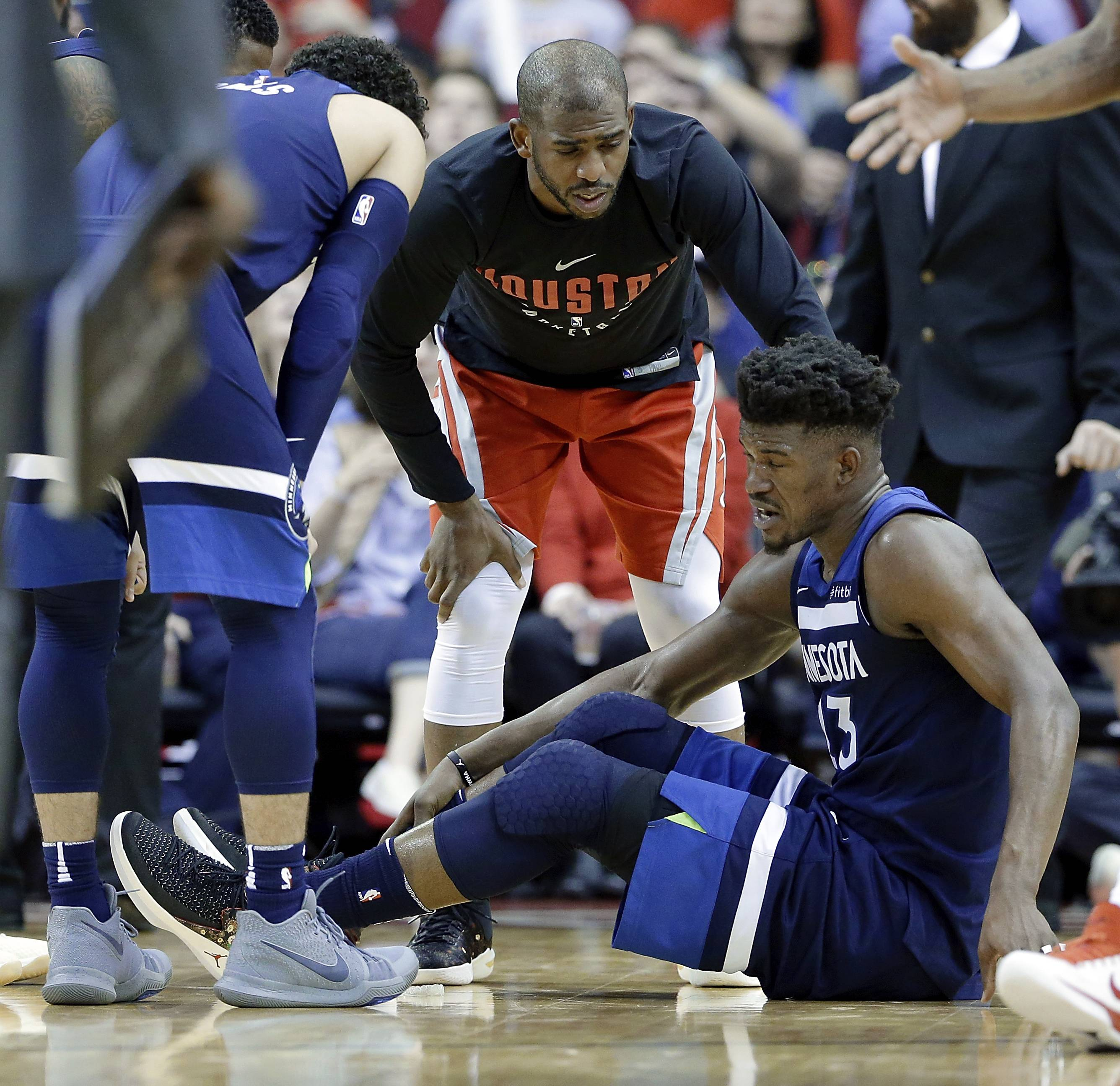 Minnesota Timberwolves guard Jimmy Butler was diagnosed with a meniscus injury after injuring his right knee on Friday against Houston.
