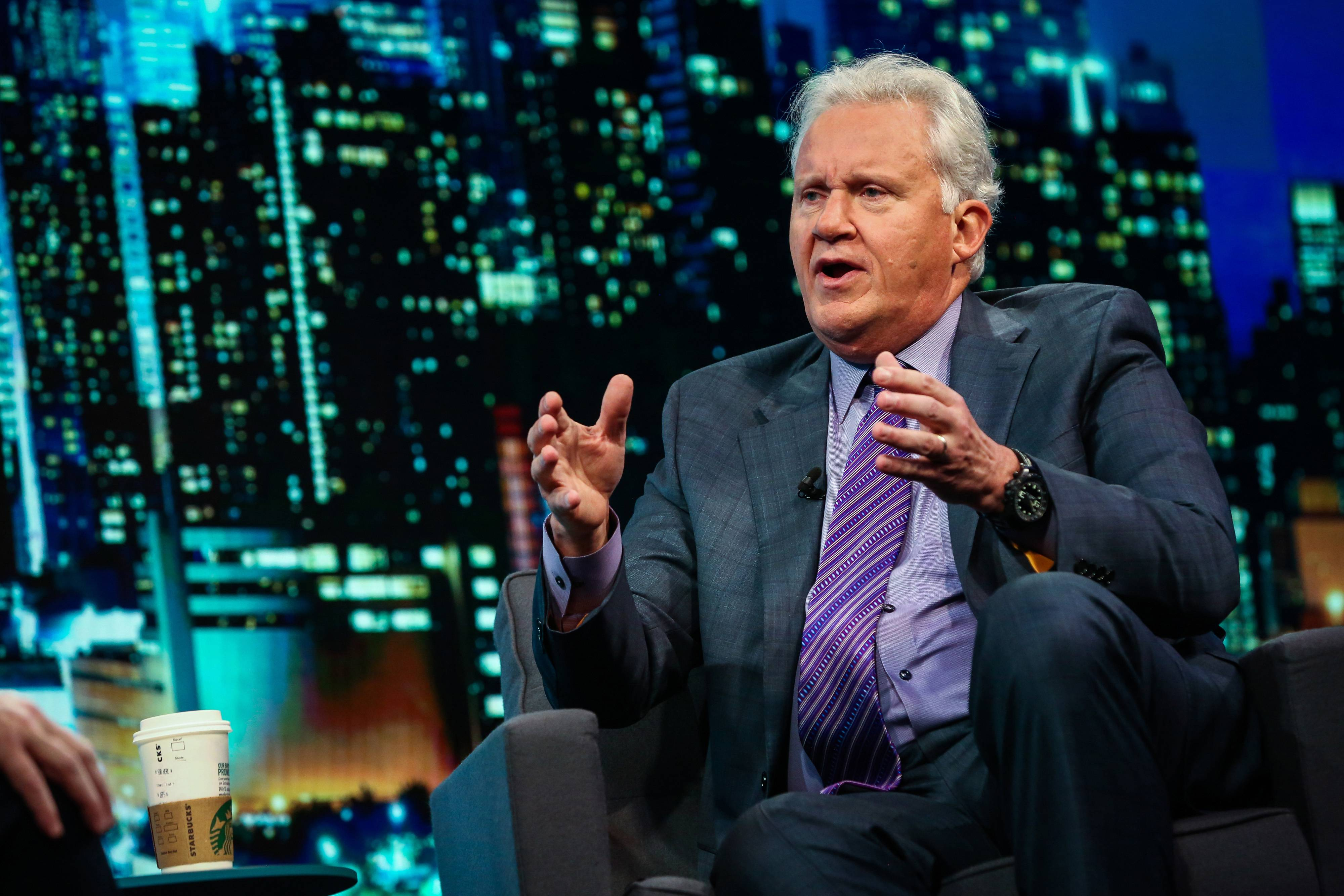 Jeff Immelt, former chairman of General Electric, speaks during an interview on the David Rubenstein Show in New York, on Sept. 29, 2017.