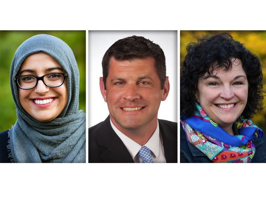From left, Hadiya Afzal, Trevor Orsinger and Mary FitzGerald Ozog are Democrat candidates for DuPage County Board, Dist. 4