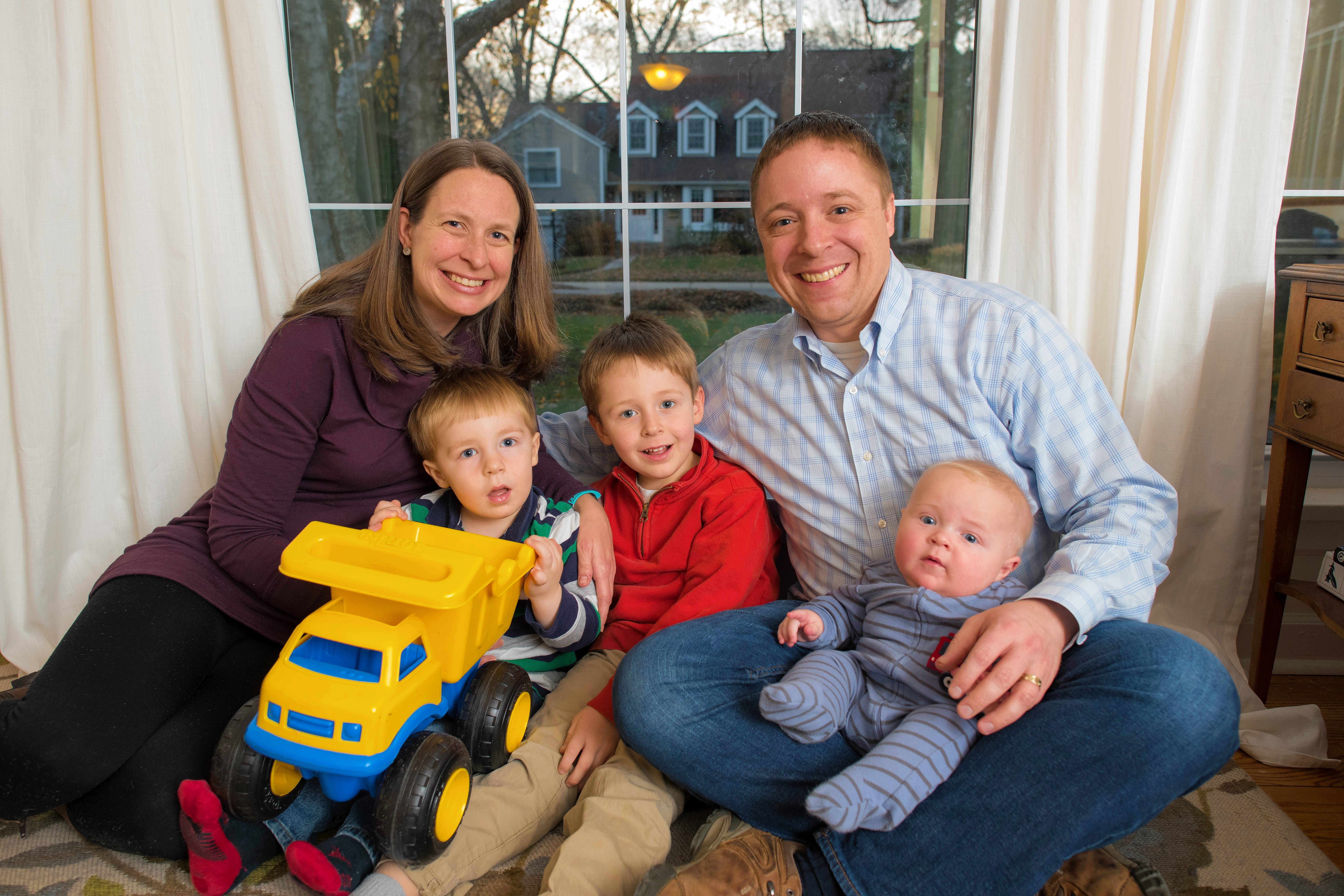 Sarah Trulley enjoys time at her Evanston home with her husband, Aaron, and three sons: 5-year-old Connor, 3-year-old Matthew and 7-month-old Christopher.