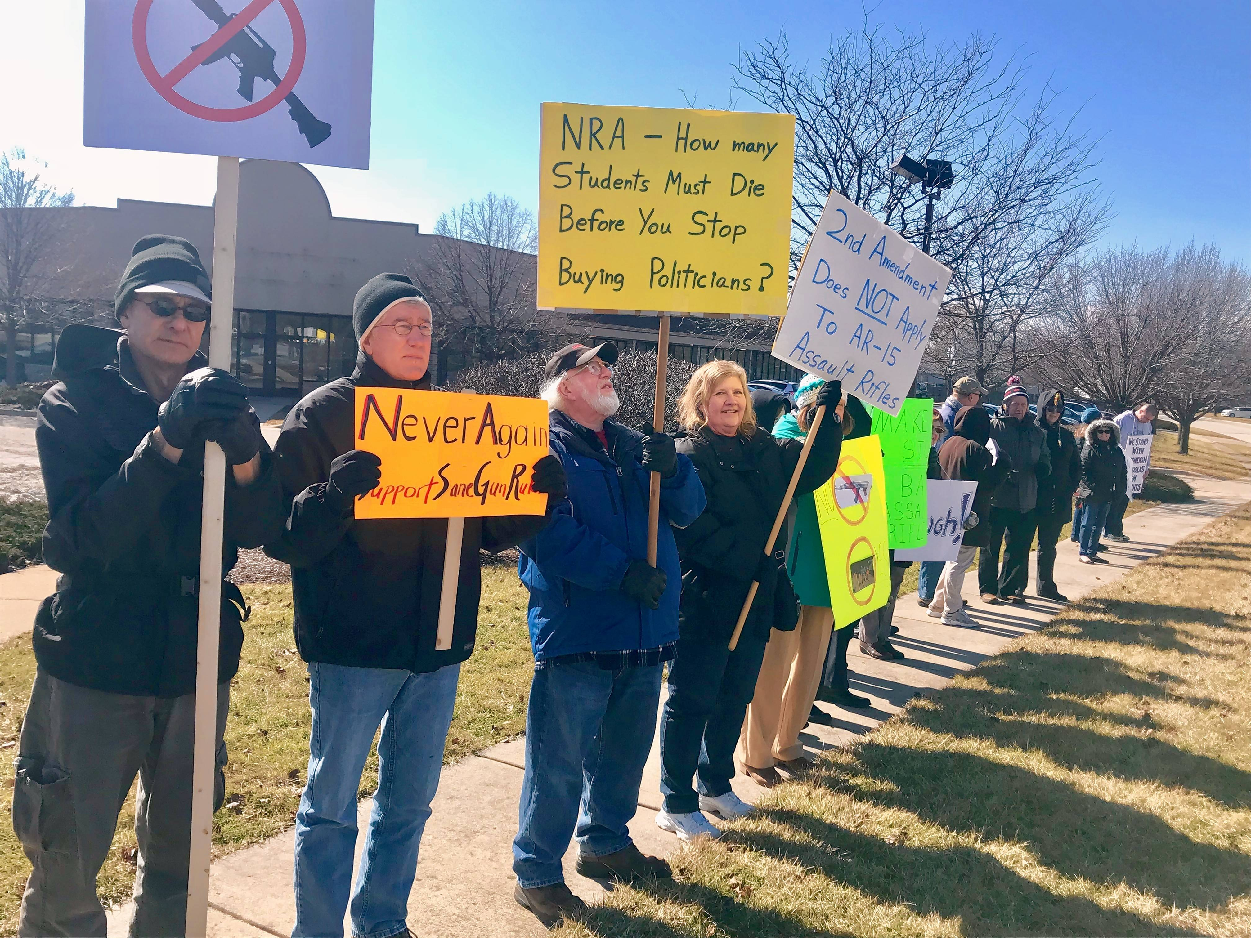 Activists stand along McLean Boulevard and College Green Drive in Elgin to protest assault weapons and encourage legislators to make policy changes.