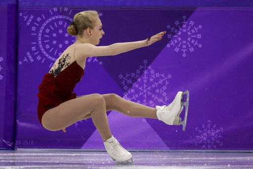 FILE - In this Feb. 21, 2018 file photo, Bradie Tennell, of the United States, falls while performing during the women's short program figure skating in the Gangneung Ice Arena at the 2018 Winter Olympics in Gangneung, South Korea. Tennell, Mirai Nagasu, and Karen Chen all went down in the short program on the way to finishing ninth, 10th and 11th - a tumble for the nation that produced seven gold medalists in women's figure skating from 1952 in Oslo to 2006 in Turin.