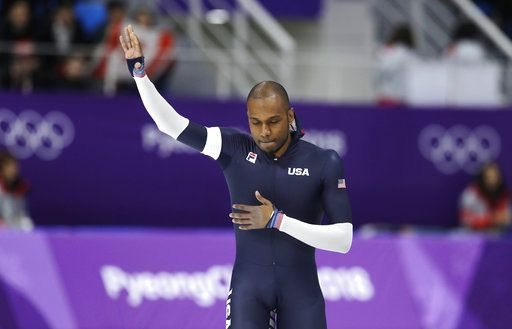 FILE - In this Feb. 23, 2018 file photo, Shani Davis of the U.S. waves after the men's 1,000 meters speedskating race in what is believed to be his last Olympic race, at the Gangneung Oval at the 2018 Winter Olympics in Gangneung, South Korea. Americans faltered on the Winter Olympic stage, leaving some big questions to address heading toward 2022. In what might have been the final Olympics of his brilliant career, Davis didn't have anything to say at all. He blew off the media by slipping out a back door, having produced finishes of seventh and 19th in South Korea.