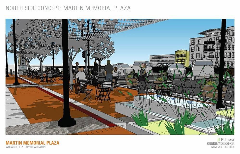 Plans by Design Workshops call for creating a new gathering space in downtown Wheaton this summer with overhead lighting, movable tables and fire and water features.