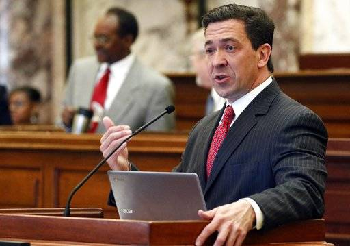 FILE - In this Tuesday, March 7, 2017, file photo, state Sen. Chris McDaniel, R-Ellisville, speaks about one of his amendments during a floor debate in the Senate chambers at the Capitol in Jackson, Miss. McDaniel is hinting strongly that he will challenge U.S. Sen. Roger Wicker in the 2018 U.S. Senate race. (AP Photo/Rogelio V. Solis, File)